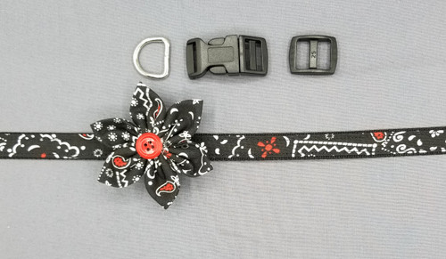 "Collar & Small Pointed Flower - Bandana with White and Red on Black - Extra Small (5/8"" wide and 8"" - 11"" round) - 127"