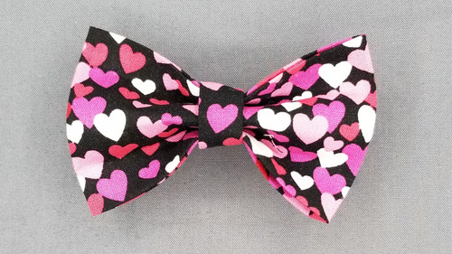 Bow Tie - Pink / Red / White Hearts on Black - 127