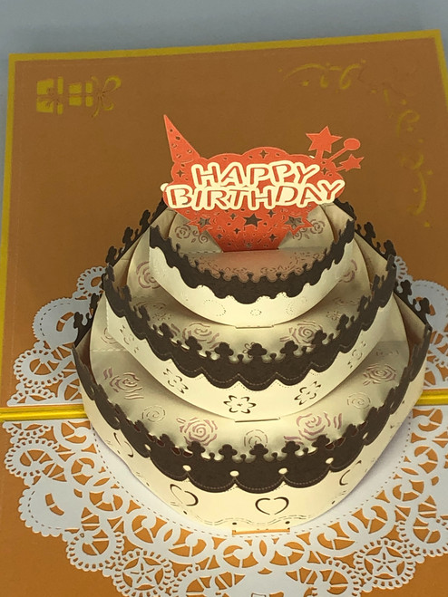 Handmade 3D Kirigami Card  with envelope  Happy Birthday Cake