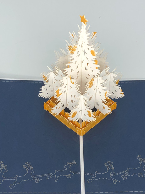 Handmade 3D Kirigami Card  with envelope  White Christmas Tree