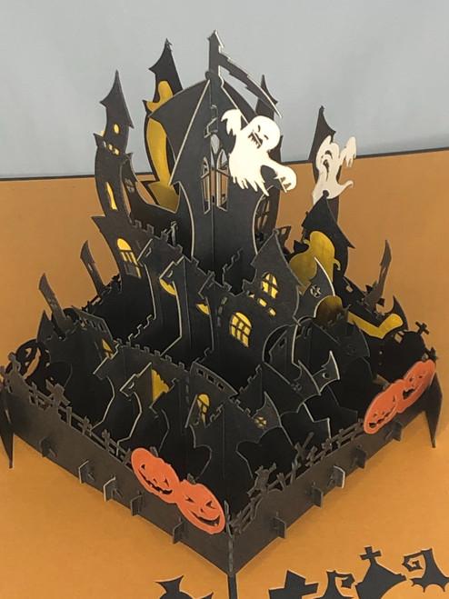 Handmade 3D Kirigami Card with envelope  Haunted House Halloween