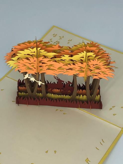 Handmade 3D Kirigami Card  with envelope  Fall Deer