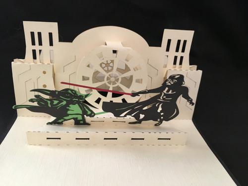 Handmade 3D Pop up Cards Kirigami  Star Wars Darth Vader and Yoda