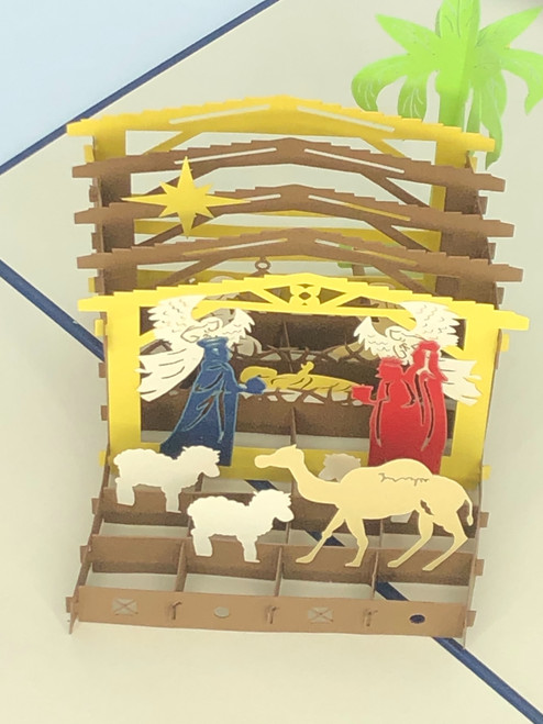 Handmade 3D Kirigami Card with envelope Nativity Blue Manager