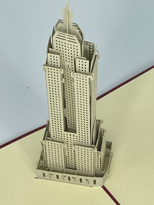 Handmade 3D Kirigami Card  with envelope  Empire States Building New York