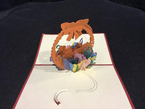 Handmade 3D Kirigami Card Easter Basket Colors may vary