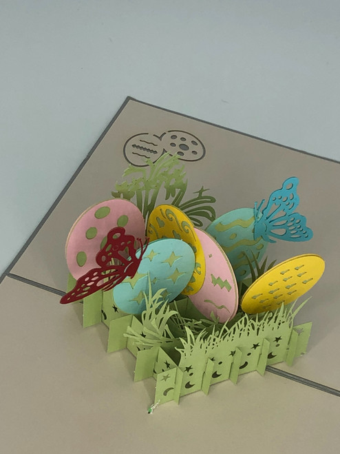 Handmade 3D Kirigami Card  with envelope  Easter Eggs