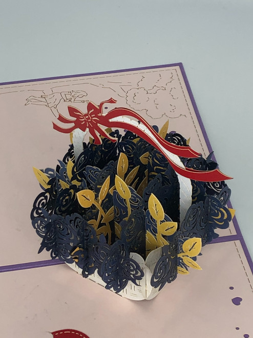 Handmade 3D Kirigami Card  with envelope  Valentines Day Blue Rose Basket