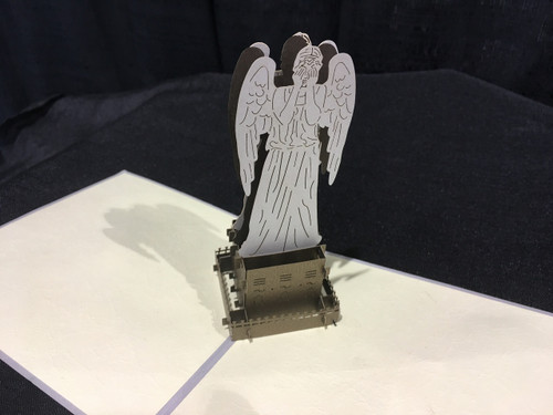 Weeping Angel Dr Who Handmade 3D Kirigami Card
