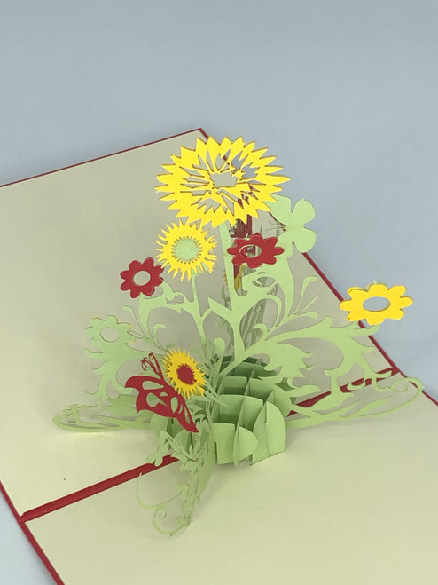 Handmade 3D Kirigami Card  with envelope  Sunflower