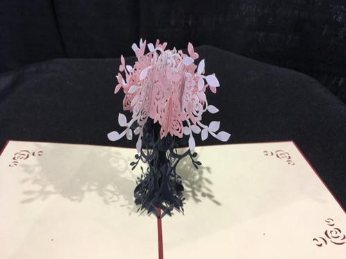 Handmade 3D Kirigami Card Pink Flowers