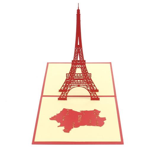 Eiffel Tower (blue not red)  Handmade 3D Kirigami Card