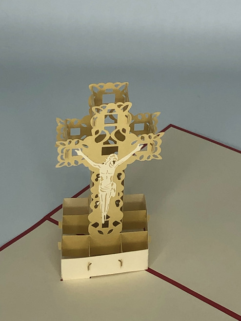Handmade 3D Kirigami Card  with envelope  Easter Christmas Cross