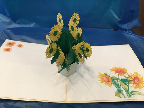 Handmade 3D Pop Up Cards  Kirigami  Sunflower1