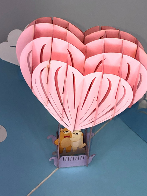 Handmade 3D Kirigami Card  with envelope  Love Bear Balloon