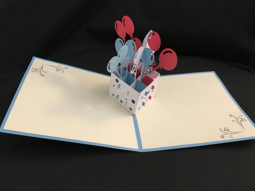 Handmade 3D Pop Up Cards  Kirigami  Birthday Balloons (Colors may vary)