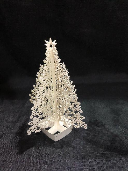 White Christmas Tree Handmade 3D Kirigami Card