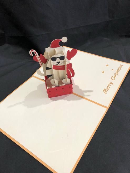 Christmas Cat Handmade 3D Kirigami Card