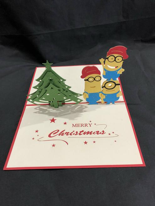 Minion Christmas Handmade 3D Kirigami Card