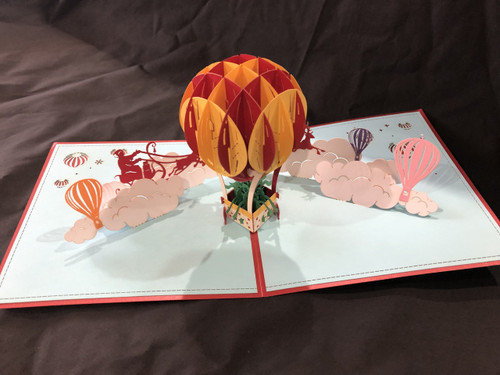 Christmas Balloon Handmade 3D Kirigami Card with envelope