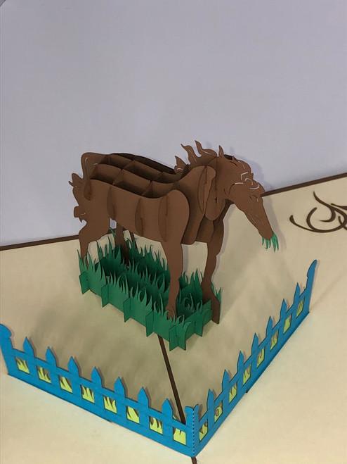 Handmade 3D Kirigami Card with envelope Horse