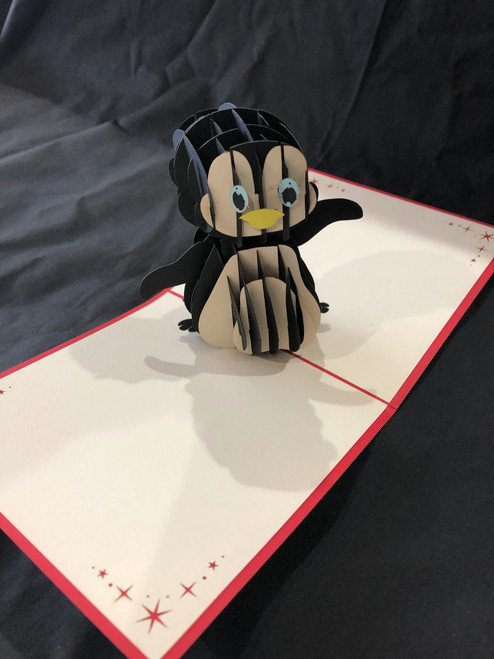 Penguin 2 Handmade 3D Kirigami Card with envelope