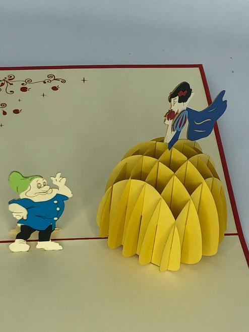 Handmade 3D Kirigami Card  with envelope  Snow White