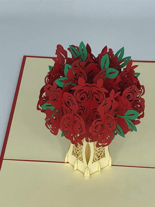 Handmade 3D Kirigami Card  with envelope  Red Rose