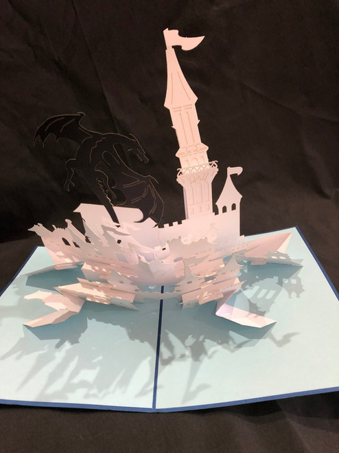 Handmade 3D Kirigami Card with envelope  Dragon and Castle