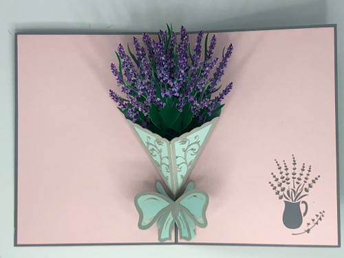Handmade 3D Kirigami Card  Lavender Bouquet  Includes envelope