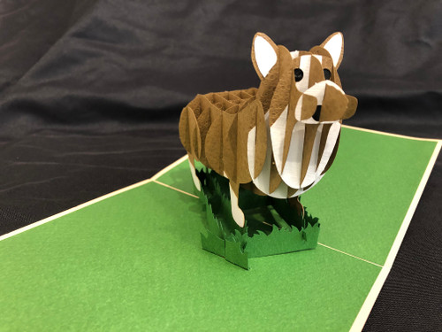 Handmade 3D Kirigami Card with envelope Korgi Dog