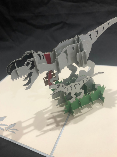 Handmade 3D Kirigami Card  with envelope  Trex Dinosaur Dad