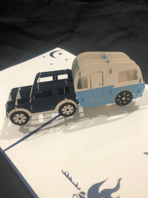 Handmade 3D Kirigami Card  with envelope  Jeep Camper