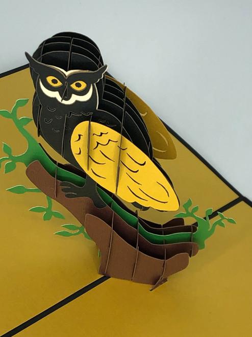 Handmade 3D Kirigami Card  with envelope  Hoot Owl Bird