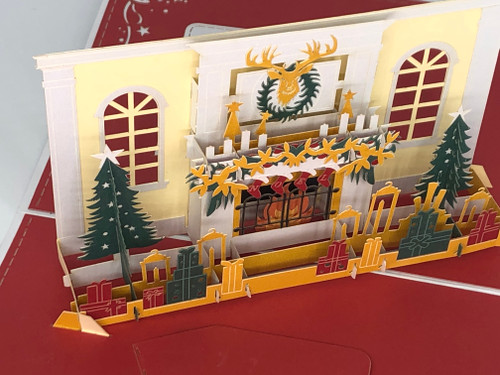 Handmade 3D Kirigami Card  with envelope  White Fireplace Christmas