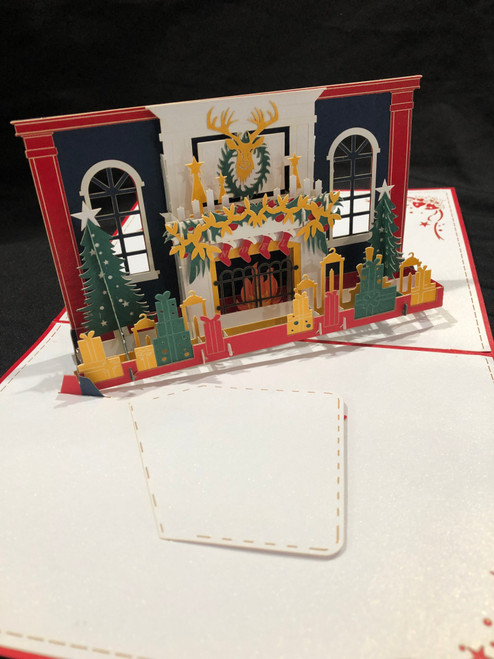 Red Christmas Fireplace Handmade 3D Kirigami Card