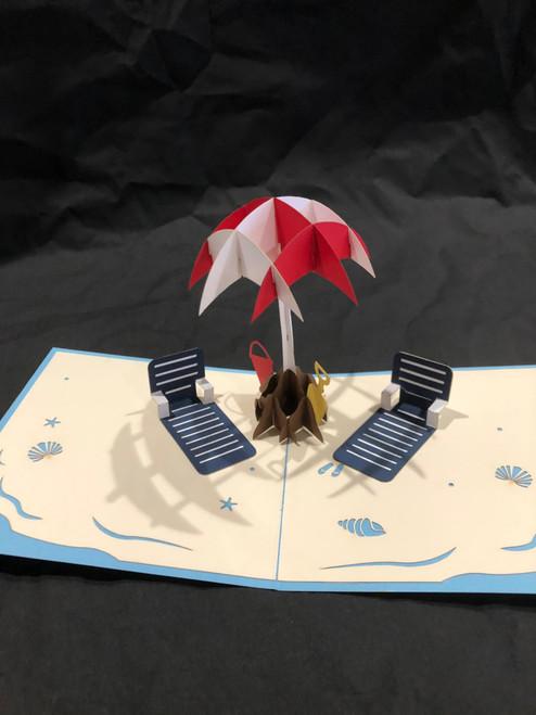 Handmade 3D Kirigami Card Beach Scene