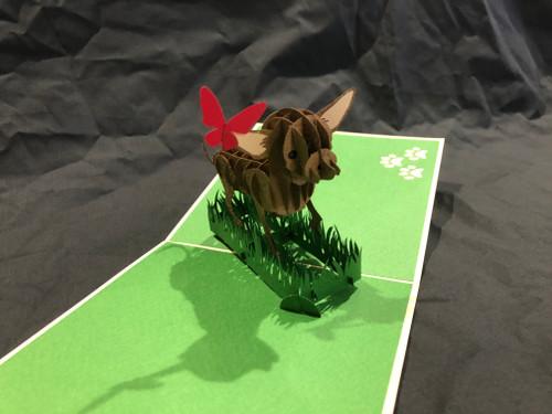 Handmade 3D Kirigami Card  Chihuahua