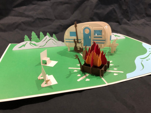 Handmade 3D Kirigami Card  Camp Site