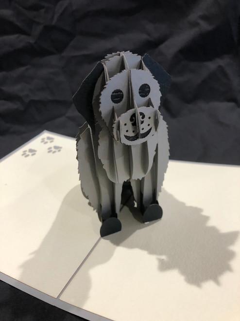 Handmade 3D Kirigami Card  Grey Dog