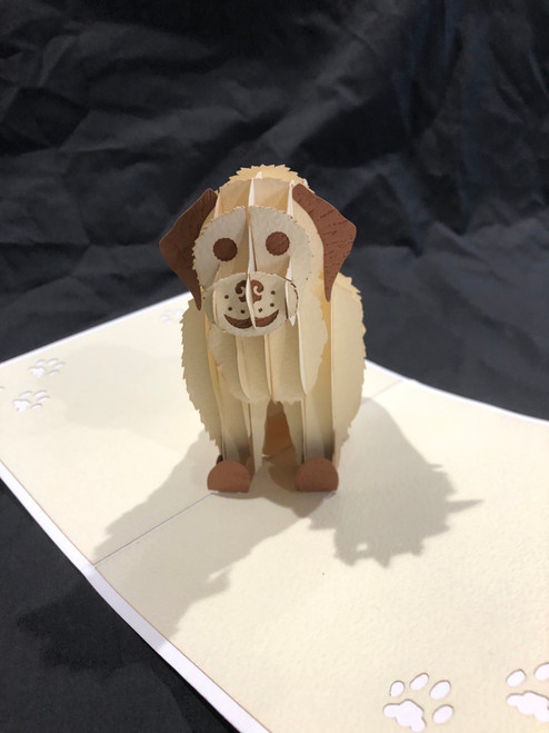 Handmade 3D Kirigami Card  with envelope  Dog