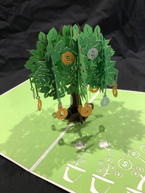 Handmade 3D Kirigami Card  with envelope  Money Tree