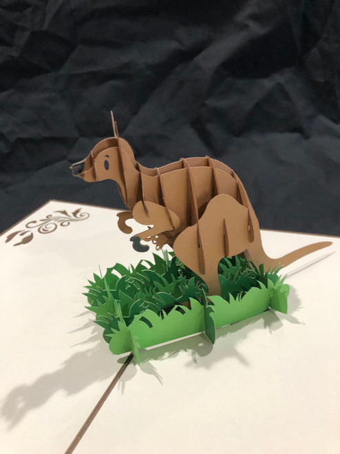 Handmade 3D Kirigami Card  with envelope  Kangaroo