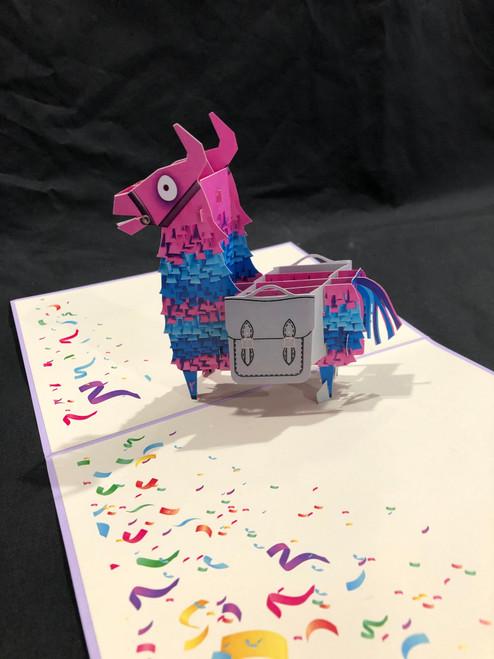 Handmade 3D Kirigami Card  with envelope  Pink Llama
