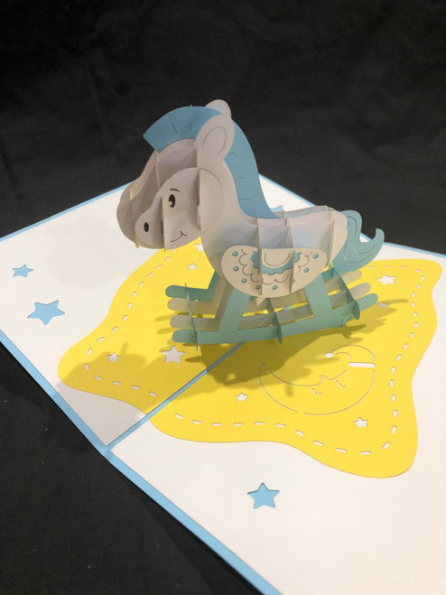 Handmade 3D Kirigami Card  with envelope  Blue Rocking Horse