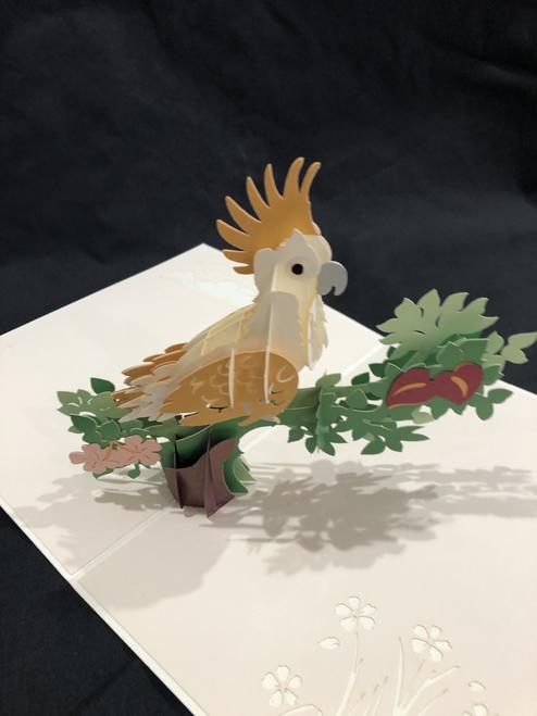 Handmade 3D Kirigami Card Cockatoo