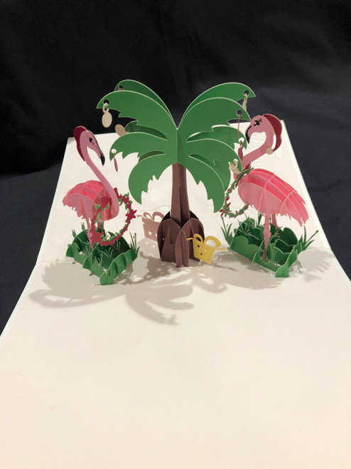 Handmade 3D Kirigami Card Flamingo 2 Christmas