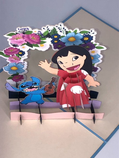 Handmade 3D Kirigami Card with envelope Lilo and Snitch Disney