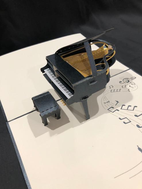Handmade 3D Kirigami Card  Piano