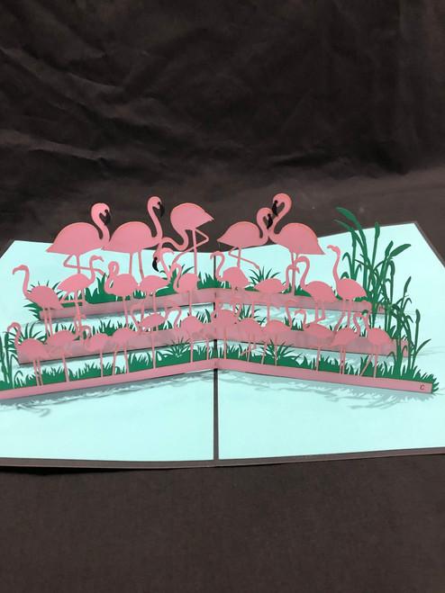 Handmade 3D Kirigami Card  with envelope  Flock of Flamingos